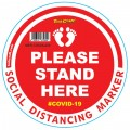 RED SMALL FEET STAND HERE - 300MM ROUND SOCIAL DISTANCING GRAPHIC
