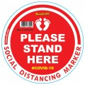 RED SMALL FEET STAND HERE - 400MM ROUND SOCIAL DISTANCING GRAPHIC