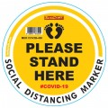 YELLOW SMALL FEET STAND HERE - 400MM ROUND SOCIAL DISTANCING GRAPHIC