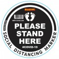 BLACK SMALL FEET STAND HERE - 300MM ROUND SOCIAL DISTANCING GRAPHIC