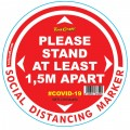 RED 1.5M APART - 400MM ROUND SOCIAL DISTANCING GRAPHIC