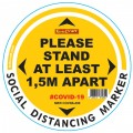 YELLOW 1.5M APART - 300MM ROUND SOCIAL DISTANCING GRAPHIC