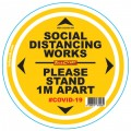 DOUBLE YELLOW 1M APART - 300MM ROUND SOCIAL DISTANCING GRAPHIC