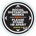 DOUBLE BLACK 1M APART - 300MM ROUND SOCIAL DISTANCING GRAPHIC