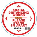 DOUBLE WHITE 1M APART - 300MM ROUND SOCIAL DISTANCING GRAPHIC