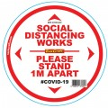 DOUBLE WHITE 1M APART - 400MM ROUND SOCIAL DISTANCING GRAPHIC