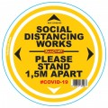 DOUBLE YELLOW 1.5M APART - 300MM ROUND SOCIAL DISTANCING GRAPHIC
