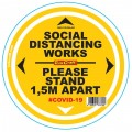 DOUBLE YELLOW 1.5M APART - 400MM ROUND SOCIAL DISTANCING GRAPHIC