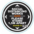 DOUBLE BLACK 1.5M APART - 400MM ROUND SOCIAL DISTANCING GRAPHIC