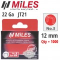 GALV STAPLES 22G JT21 12MM X 1000PCS MILES NO3