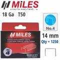GALV STAPLES 18G T50 14MM X 1250PCS MILES NO4