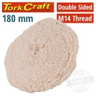 "DOUBLE SIDED WOOL BUFF 7"" 180MM WITH M14 THREAD"