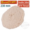 "DOUBLE SIDED WOOL BUFF 9"" 230MM WITH M14 THREAD"