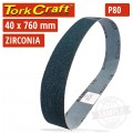 80 GRIT ZIRCONIA SANDING BELTS 40MMX760MM