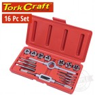 TAP & DIE SET 16PCE IN PLASTIC CASE
