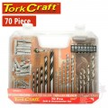DRILL BIT & ACCESSORY SET 70PC IN PLASTIC CARRY CASE
