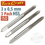 TAPS HSS 3X0.5MM ISO 3/PACK