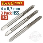 TAPS HSS 4X0.7MM ISO 3/PACK
