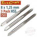 TAPS HSS 8X1.25MM ISO 3/PACK