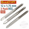 TAPS HSS 12X1.75MM ISO 3/PACK