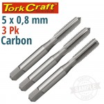 TAPS CARB.STEEL 5X0.8MM 3/PACK