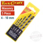 MASONRY DRILL BIT SET 5PC 4-10MM