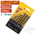 MASONRY DRILL BIT SET 8PC 3-4-5-6-7-8-9-10MM