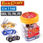 ALUMINIUM MINI FOLDING KEY SETS X30 PER JAR HEX. TORX. PH & PZ