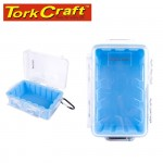 MICRO CASE BLUE 199 X 130 X 79MM SIL./LINER WITH CARABIN.CLIP