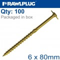 TIMBER CONSTRUCTION SCREW 6X80 MM ZINC PLATED BOX OF 100