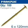 TIMBER CONSTRUCTION SCREW 6X120 MM ZINC PLATED BOX OF 100