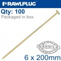 TIMBER CONSTRUCTION SCREW 6X200 MM ZINC PLATED BOX OF 100