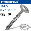TIMBER CONSTRUCTION SCREW 8.0 X 100MM X50-BOX TORX T40