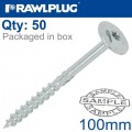 TIMBER CONSTRUCTION SCREW 8.0 X 100MM X 50-BOX WASHER HEAD TORX T40