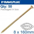 TIMBER CONSTRUCTION SCREW 8.0 X 160MM X50-BOX CSK WASHER HEAD TORX T40