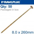 TORX T40 TIMBER CONSTRUCTION SCREW 8.0X260MM X50-BOX