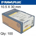HAMMER IN FIXING PLASTERBOARD+SCREWS 10.5X30MM X100-BOX