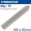INTERNALY THREADED SOCKETS M8X90 A4 BOX OF 10