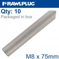 INTERNALY THREADED SOCKETS M8X75 ZINC PLATED, CLASS 5.8 BOX OF 10