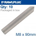 INTERNALY THREADED SOCKETS M8X90 ZINC PLATED, CLASS 5.8 BOX OF 10