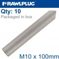 INTERNALY THREADED SOCKETS M10X100 ZINC PLATED, CLASS 5.8 BOX OF 10
