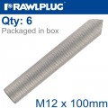INTERNALY THREADED SOCKETS M12X100 ZINC PLATED, CLASS 5.8 BOX OF 6