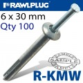 KMW METAL HAMMER FIXING 6X30MM X100 PER BOX