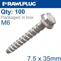 CONCRETE SCREWBOLT M6 7.5X35MM HEX HEAD WITH FLANGE GALV BOX OF 100