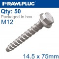 CONCRETE SCREWBOLT M12 14.5X75MM HEX HEAD WITH FLANGE GALV BOX OF 50