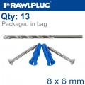HANGING BASKET KIT UNO-08 X6 WITH SCREWS AND 8MM DRILL BIT