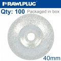 ROUND WASHER 40MM,6,5MM WITH ALUMINUM-ZINC COATING BOX OF 100