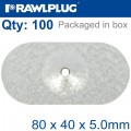 OVAL STEEL WASHER 80MMX40MMX5.0MM ALUM ZINC COATING BOX OF 100