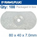 OVAL STEEL WASHER 80MMX40MMX7.0MM ALUM ZINC COATING BOX OF 100