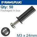 RAWLNUT+SCREW M3X24MM X50-BOX